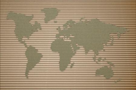 段ボール上の世界地図