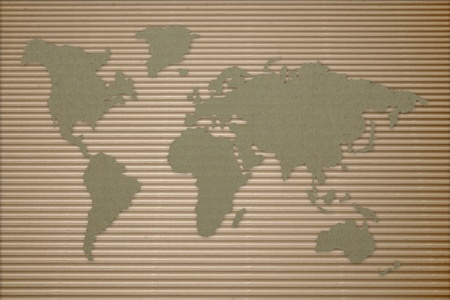 World map on corrugated cardboard 免版税图像