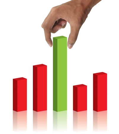 Hand holding and business graph Stock Photo - 10026779