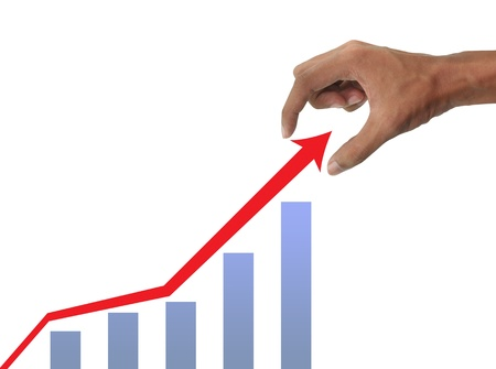 Hand holding and business graph Stock Photo - 10026780
