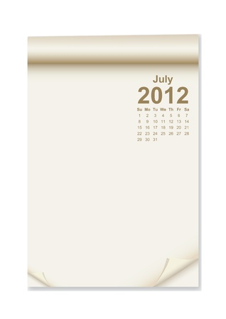 tex: Calendar on note paper with corner curl for tex