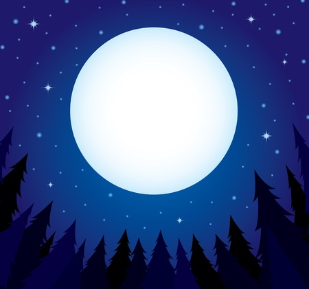 Pine tree and the moon background Vector