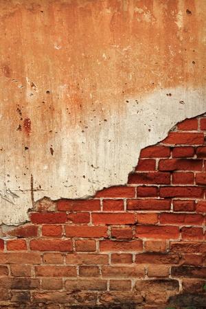 pared rota: Fondo agrietado muro de ladrillos de hormigón