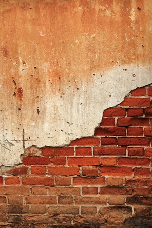 pared rota: Fondo agrietado muro de ladrillos de hormig�n