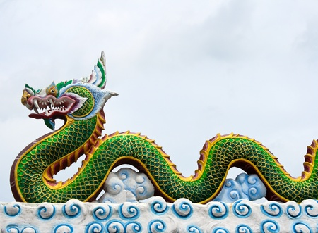 The dragon status on roof photo