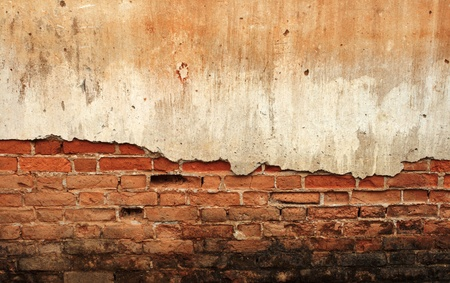disrupted: Background cracked concrete brick wall