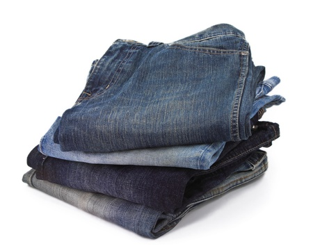 stack jeans closeup with white background photo