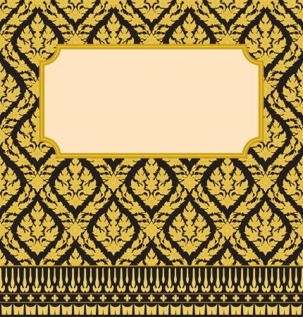 タイ芸術の壁のパターンの背景を持つフレーム 写真素材 - 13659294