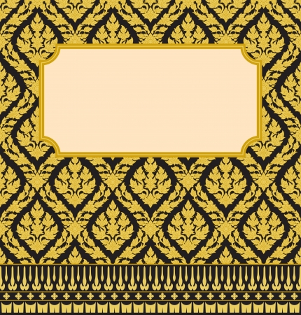 asian culture: Frame with Thai art wall pattern background Illustration