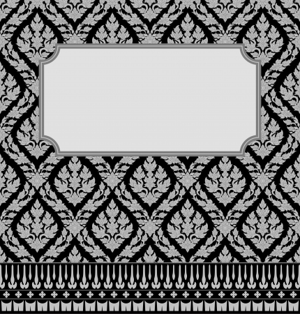 Frame with Thai art wall pattern background 矢量图像