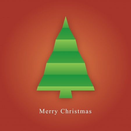 Card with christmas tree made from paper fold Stock Vector - 15118498