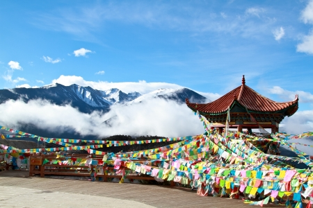 worshipper: Colorful prayer flags and clear blue sky