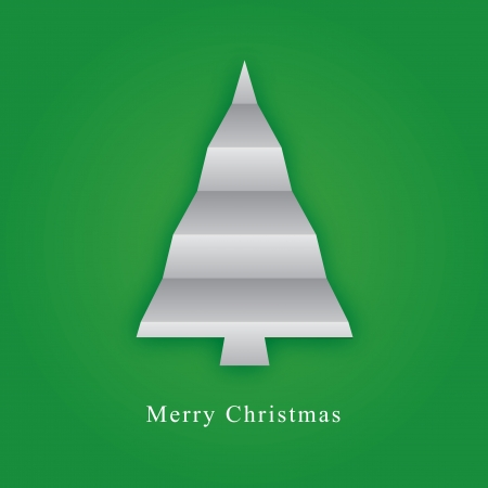 Card with christmas tree made from paper fold Vector