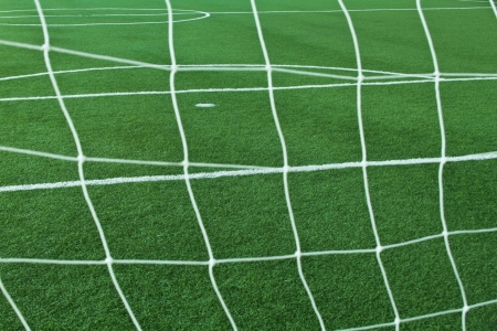 Artificial grass soccer field for background photo