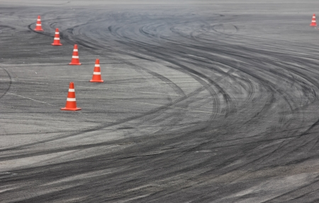 Background with traffic cone on road track Stock Photo - 15373100