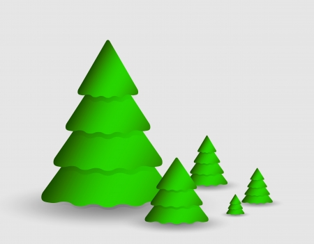 Card with christmas tree made from paper corner Stock Vector - 16358292