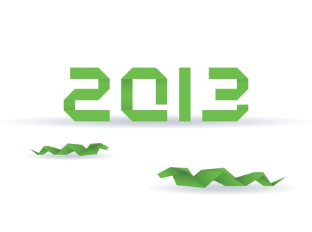 Paper origami snake with 2013 new year Vector