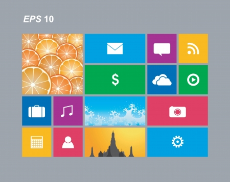 windows 8: Metro style with app cells Isolated