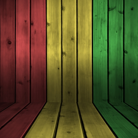 Background wood board texture with reggae color Stock Photo