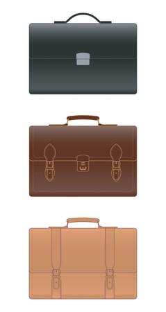 Leather briefcase on white background, illustration Illustration