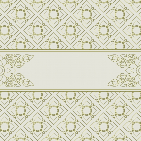 Frame with Thai art wall pattern background Vector
