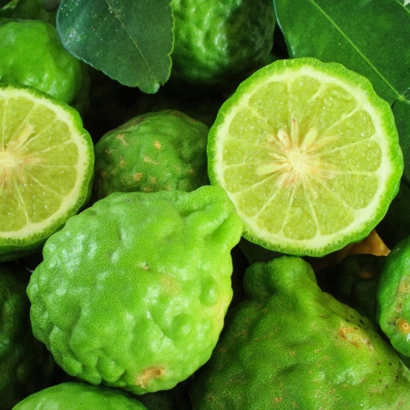 Background with pile kaffir limes