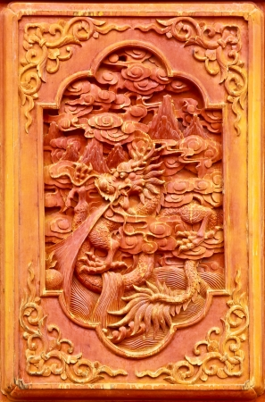 Dragon design on the wooden door of Chinese temple Stock Photo - 18902085