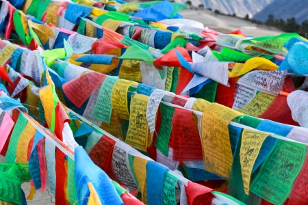 Buddhist tibetan prayer flags flying for background Stock Photo - 19059334