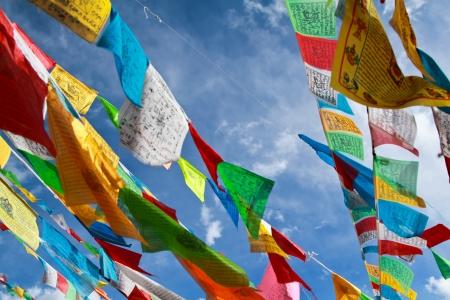 仏教チベットの祈りの旗が青空に 写真素材