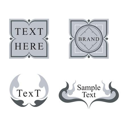 タイ風レトロなロゴ デザイン ラベル セット  イラスト・ベクター素材