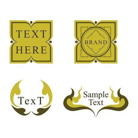 Thai style retro logo design label set