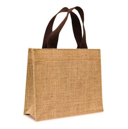 Shopping bag made out of sack on white background Standard-Bild
