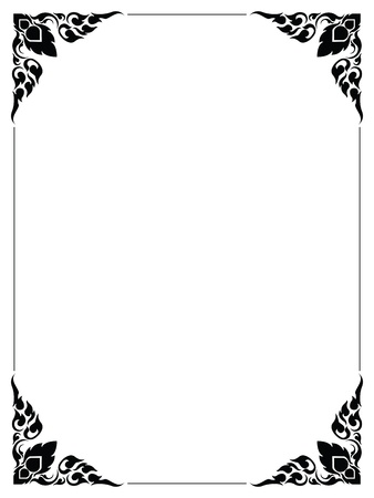 Frame artistic of line thai on white Vector