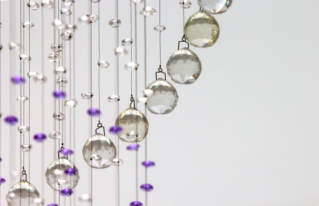 Close up on crystal of contemporary chandelier photo