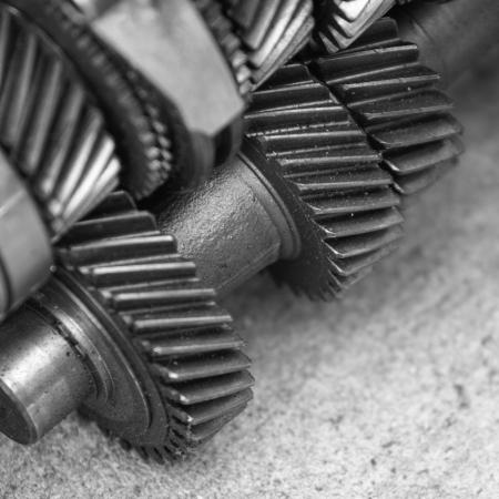 金属歯車のクローズ アップ