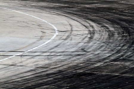 track marks:  tire marks on road track
