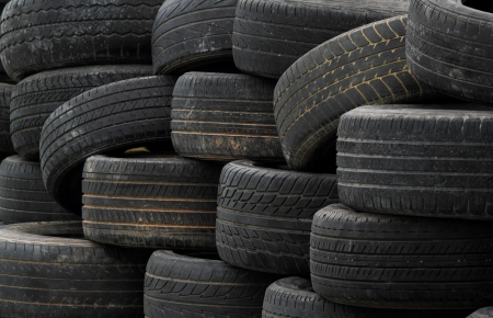 Pile of old rubber tires  photo