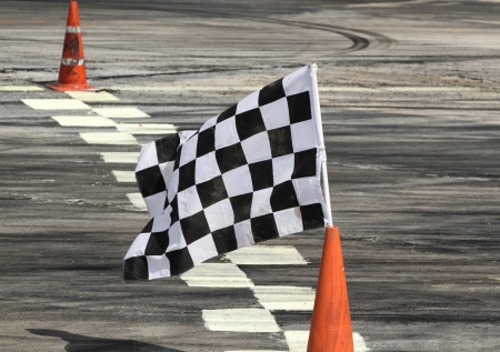 Finish flag on track in racing car Stock Photo