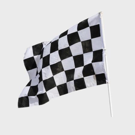 レーシングカーの終了のフラグを白を分離します。 写真素材