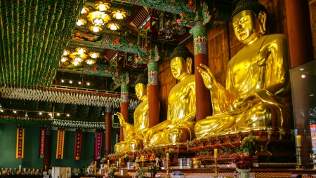 Golden buddha statues in Jogyesa temple, Korea