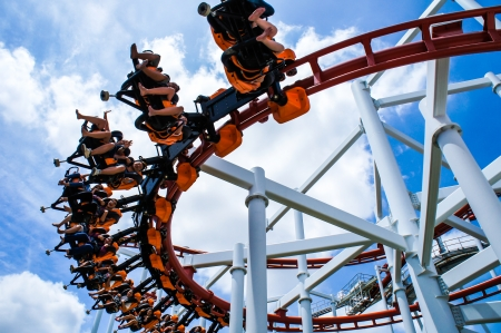 coaster: Rollercoaster ride with sky at theme park