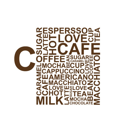 eggnog: Coffee cup typography words on white background