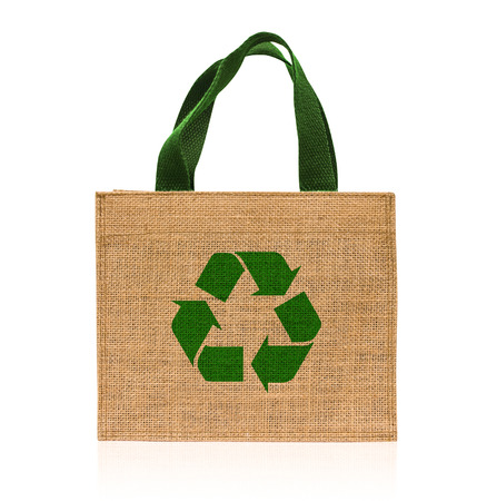 Shopping bag made out of sack on white background photo