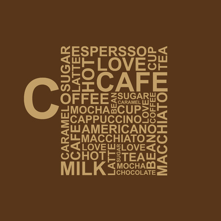 eggnog: Coffee cup typography words on brown background Illustration