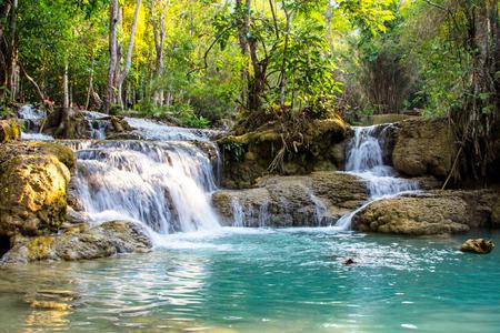 si: Kuang Si waterfall in Luang Prabang, Lao Stock Photo