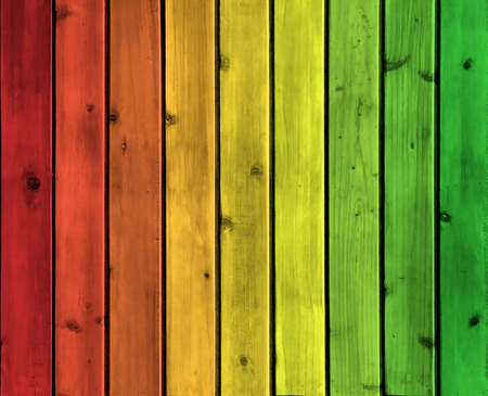 Background wood board texture with reggae color Standard-Bild