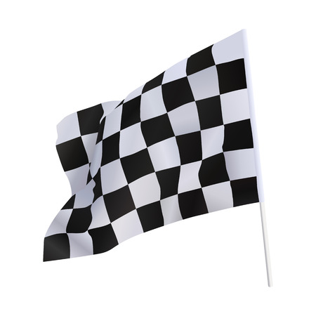 レーシングカーの終了のフラグを白を分離します。 写真素材 - 28830490