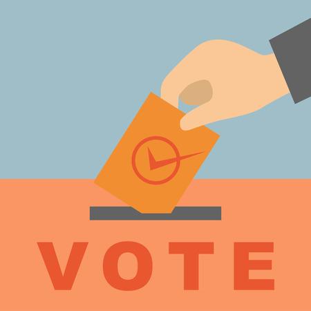 voting ballot: Mano poniendo una papeleta de votaci�n en una ranura de la caja Vectores