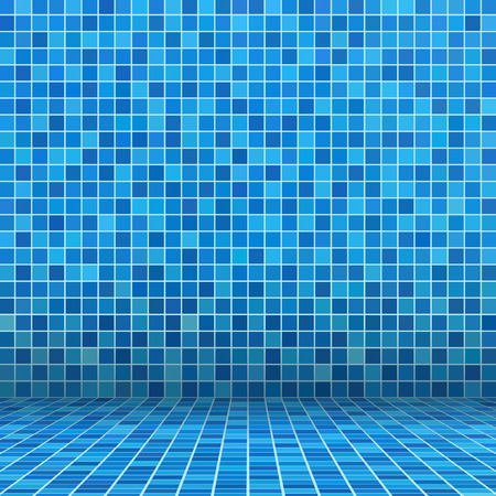Blue ceramic tile mosaic in swimming pool Vector