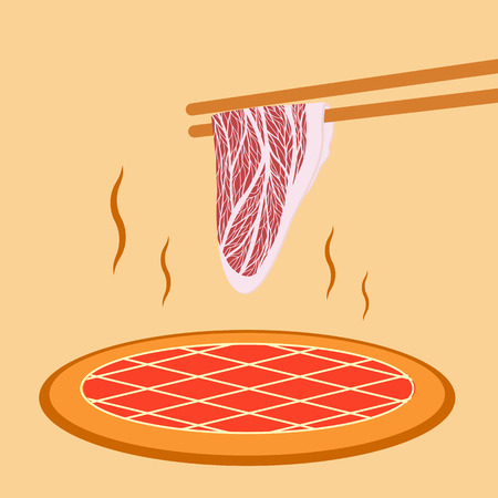 Meat slide grill asian style Vector